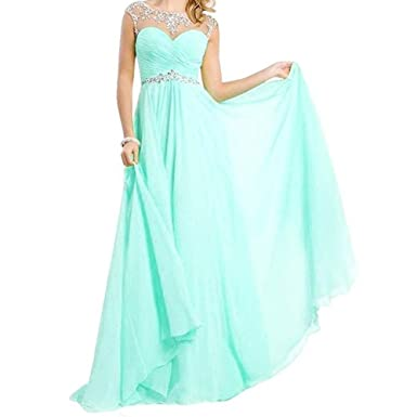 Veiai Long A Line Chiffon Evening Prom Dress for Women Beaded Bridesmaid Gown