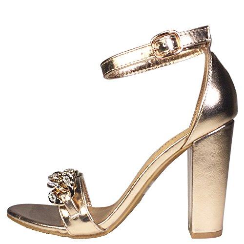 Catena Di Bambù Da Donna Ornamento Fascia Singola Sandalo Con Tacco Grosso Con Cinturino Alla Caviglia Oro Rosa Pu