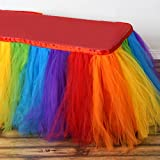 Efavormart 14ft FULL SIZE 8 Layer Fluffy Tulle - Tutu Table Skirt - Rainbow