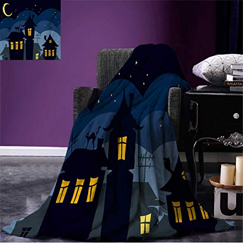 Anniutwo Halloween Throw Blanket Old Town with Cat on The Roof Night Sky Moon and Stars Houses Cartoon Art Soft Black Yellow Blue W60 x L50 inch ()