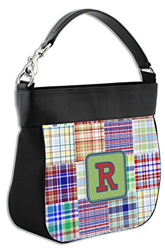Blue w Personalized Madras Print Leather Trim Plaid Back Front amp; Genuine Purse Hobo qp4HwUxFq