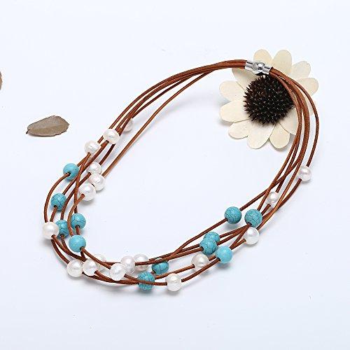 Womens Multistrands Perles d'eau douce Turquoise Collier avec cordon de cuir Collier 48,3cm