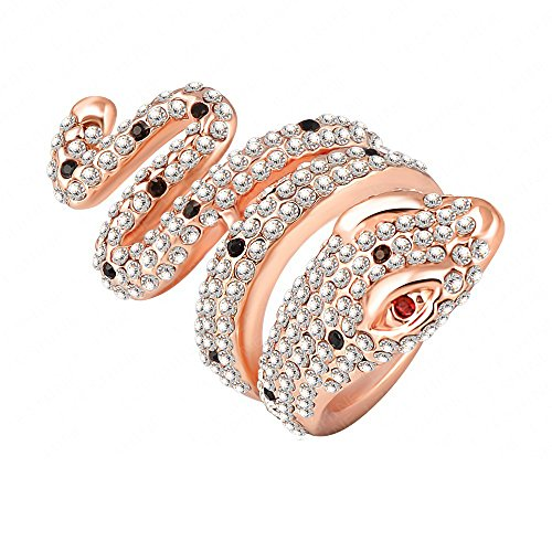 Women Personality Alloy Austrian Crystal Snake-Shaped Ring 18K Rose Gold Plated