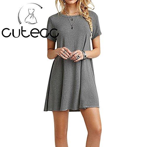 Comfy Round Gray Swing Dress Solid Neck Cutecc Women Short Sleeve 1577Bw