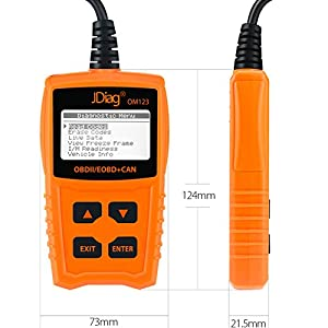 JDiag OM123 Enhanced OBD2 Scanner Car Diagnostic Scan Tool Automotive Engine Light Fault Code Reader-Orange