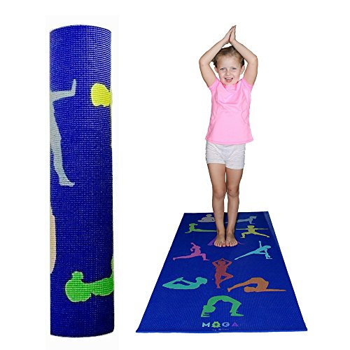 MOGA Kids Yoga Mat 1/2 Inch Thick Play Pad With Poses For Exercise And Fitness- For Boys And Girls Multipurpose- Non Slip