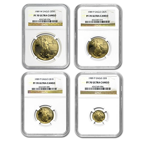 1989 4-Coin Proof Gold American Eagle Set PF-70 NGC PF70 ()