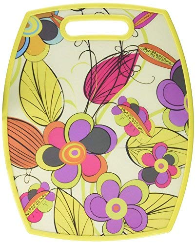 Rectangular Floral Print Cutting Board, Large, Multicolor, For Meat & Veggie Prep, Serve Bread, Crackers & Cheese