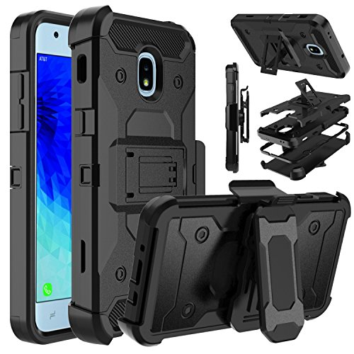 Galaxy J3 2018 Case, Galaxy J3 Orbit Case, Venoro Heavy Duty Armor Shockproof Protection Case Cover with Belt Swivel Clip and Kickstand for Samsung Galaxy J3 Achieve/Galaxy J3 Star (Black)