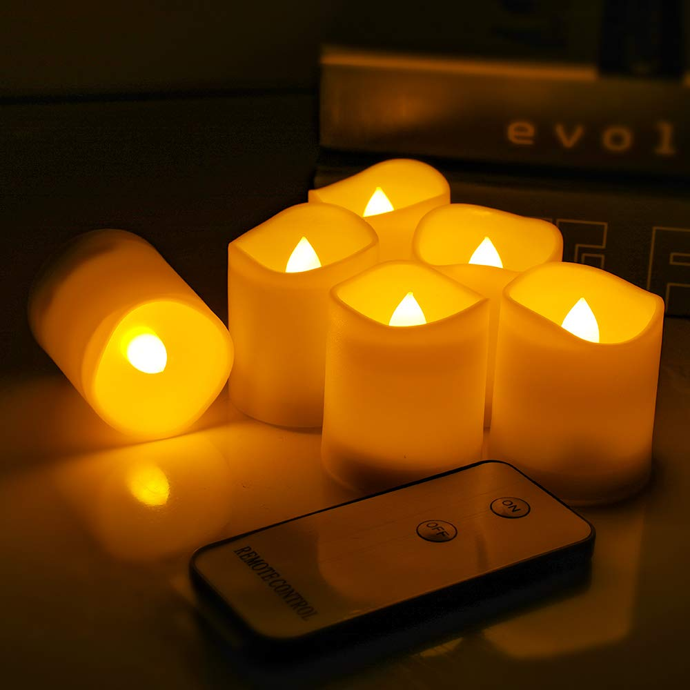 Tker LED Tea Light Candles, Flameless Realistic and Flickering Bulb Battery Powered with Remote, Electric Votive Mood Light Candles for Seasonal & Festival Celebration, Set of 12- Warm White