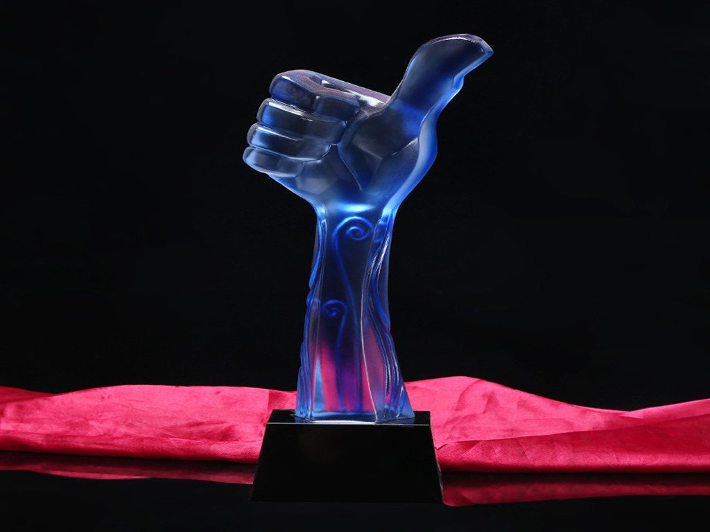 Premium Thumb Glass Trophy Creative Crystal Trophy Production Elite Champion Annual Award