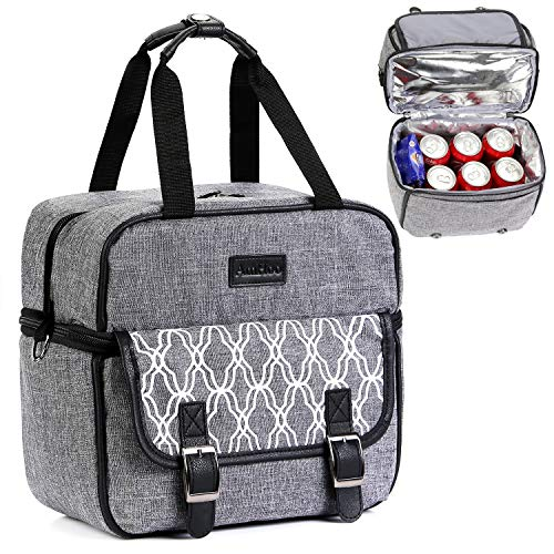 Layer Double Bottom - Lunch Bag Double Layer Leakproof Insulated Lunch Box AmHoo Waterproof Linen Polyester Thermal Lunch Cooler Tote Bag with Strongest YKK Zipper for Women/Men/Kids