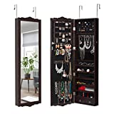 LANGRIA Full-Length Lockable Wall-Mounted Over-the-Door Hanging Jewelry Cabinet Armoire and Accessories Storage Organizer with 2 Drawers Carved Design and 3 Adjustable Heights (Brown)