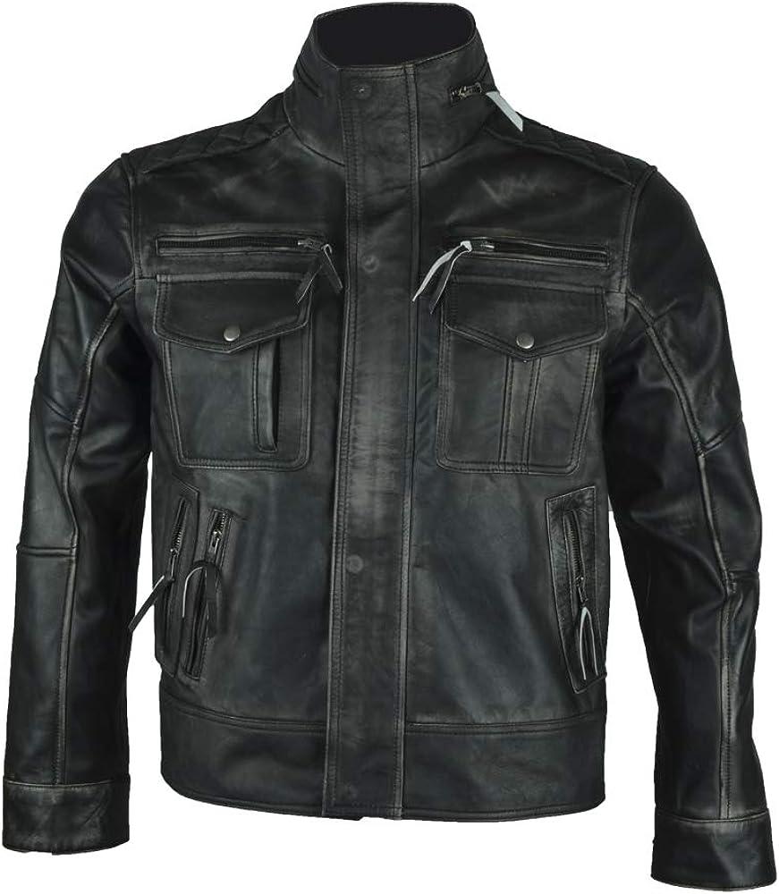 Men/'s Biker Style Slim Fit Distressed Black Sheepskin Leather Jacket
