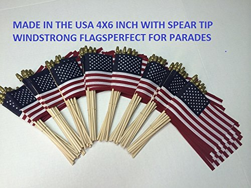 WindStrong® Lot of -100-4x6 Inch US American Hand Held Stick Flags with Spear Tip
