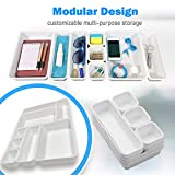 Drawer Organizer (8 PCS) - Interlocking Desk Organizer Tray | Drawer Dividers Snap Together for Custom Layout | Non Slip - Includes Bonus Adhesive Bumpers | Organize Makeup, Tools, Office Supplies