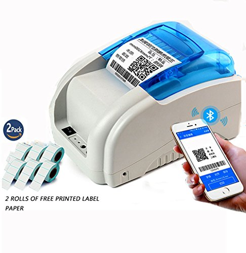 Usb Barcode Printer (NYEAR mobile phones and computers Bluetooth thermal code stickers bar code label printer machine for Android and IOS Windows(12 Android +100 Apple) +2 free labels (USB+Bluetooth+WIFI))