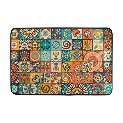 WIHVE Vintage Marble Mexican Ceramic Tile Medallion Doormat Entrance Mat Floor Mat Rug Non-Slip Soft Absorbent Bathroom Mat Kitchen Carpet (2' x 1.5')