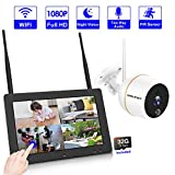 【4CH NVR】Wireless Video Security Camera System, SMONET 7' Touchscreen NVR Kit With 1PC Weatherproof Security IP Camera,Two-Way Audio,PIR Motion Sensor,Night Vision, Remote Access(32G TF Card Included)