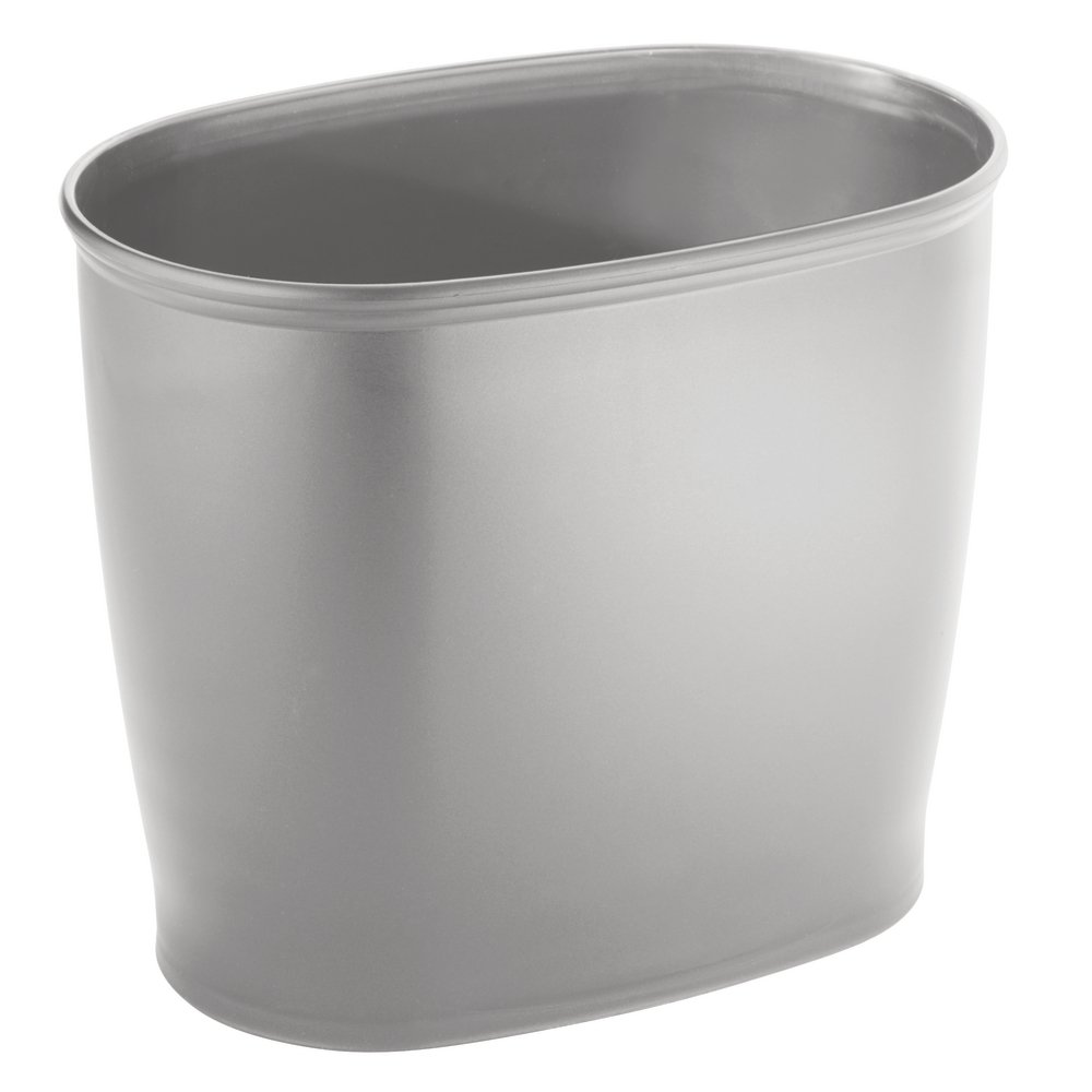 InterDesign Kent Oval Wastebasket Trash Can for Bathroom, Kitchen, Office - Gray Inc 93446