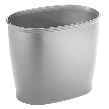 InterDesign Kent Oval Wastebasket Trash Can For Bathroom, Kitchen, Office    Gray