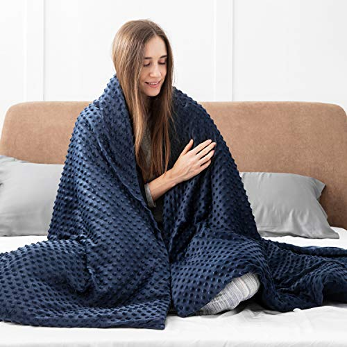 Bedsure-Weighted-Blanket-for-Adults-with-Removable-Duvet-Cover-4872-inches-Navy-15lbs-for-Adults-Between-140-180-lbs-100-Cotton-Weighted-Blanket-with-Premium-Glass-Beads-for-All-Season