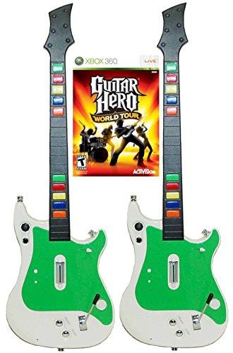 Xbox 360 2x Wireless Guitar Controllers + Guitar Hero World Tour Video Game kit bundle set GH RB rock music band - Guitar Hero Guitar Xbox 360 Used
