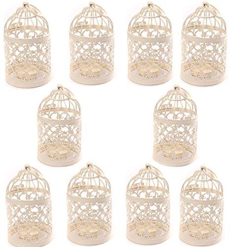 Freedi Metal Candle Holder Centerpiece Decorative Hollow out Birdcage Iron LED Hanging Candlestick Lantern (10Pcs) by Freedi