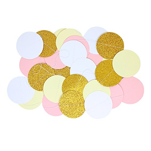 Lavish Favors & Gifts 50 pcs Pink, Cream, White & Gold Amazing Birthday Party Wedding Decoration Including Helium Balloons - Tissue Paper pom poms Hanging Tassel Garlands - Circle Strands Garland Kit by Lavish Favors & Gifts (Image #3)