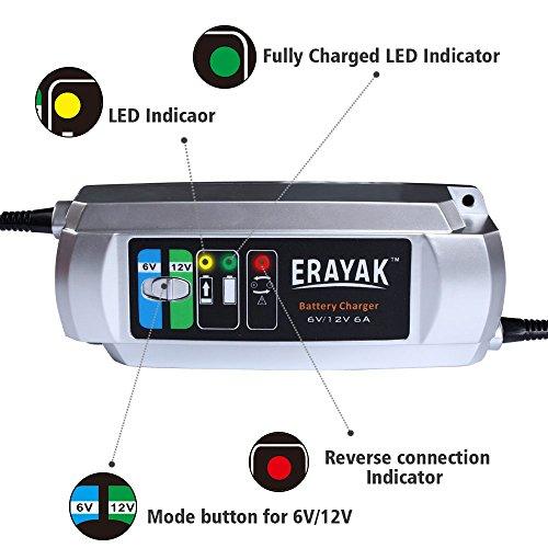 amazon com erayak 6v 12v 6a automatic car battery charger rh amazon com Trojan Gel Battery 6 Volt Motorcycle Battery Gel