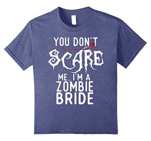 Zombie Bride Halloween Costumes (Kids Funny Zombie Bride Shirts Halloween Costume Joke Gag Gifts. 8 Heather Blue)