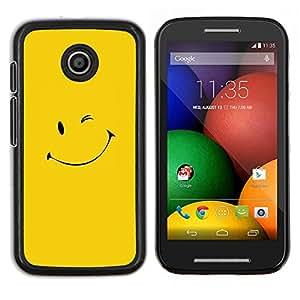 EJOOY---Cubierta de la caja de protección para la piel dura ** Motorola Moto E ** --Amarillo Smiley Face