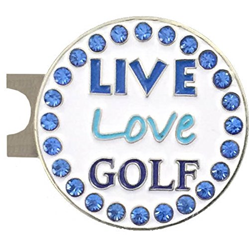 Giggle Golf Bling Live Love Golf Blue Golf Ball Marker With A Standard Hat Clip (Marker Golf Gift)