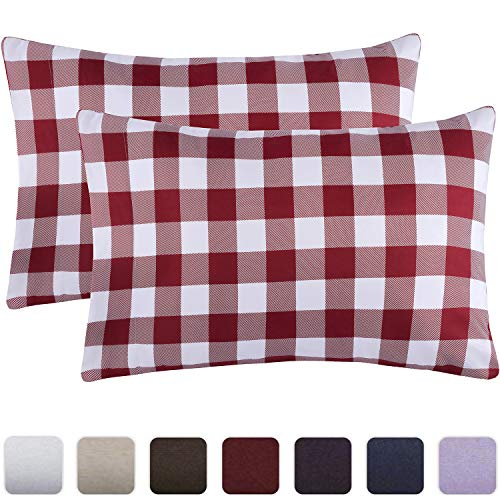 Mellanni Luxury Pillowcase Set - Brushed Microfiber 1800 Bedding - Wrinkle, Fade, Stain Resistant - Hypoallergenic (Set of 2 Standard Size, Check Burgundy)