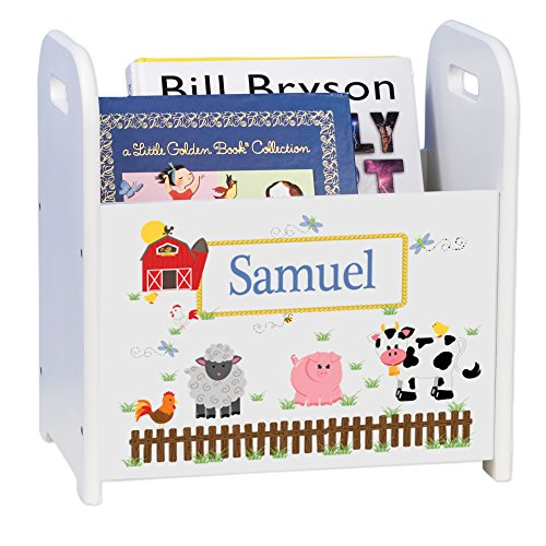 Personalized Barnyard Friends Pastel White Book Caddy and Rack by MyBambino