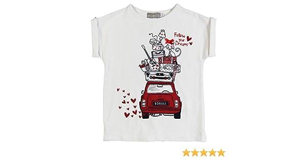 boboli STRETCH KNIT T-SHIRT - Camiseta de manga larga para niña, color weiß (white 1100), talla 5 años (110 cm): Amazon.es: Ropa y accesorios