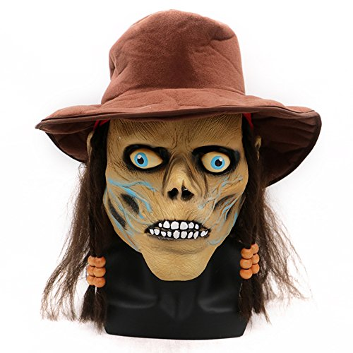 Scary Demon Costume Mask for Adults Horrific Wig Hat Pirate Cosplay Halloween Latex Mask Cosplay Props (One Size) -