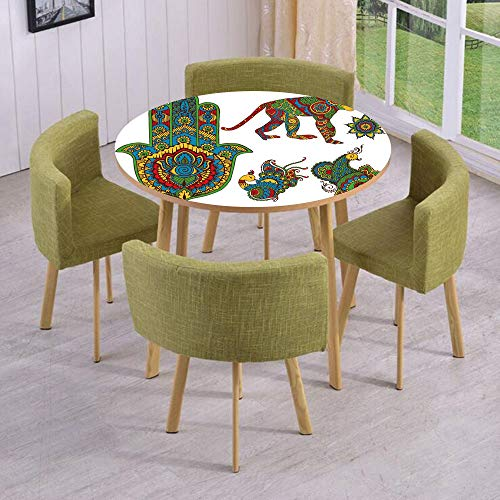 Round Table/Wall/Floor Decal Strikers,Removable,Hand Painted Mehndi Style Figures Monkey Moroccan Star Hamsa Hand and Peacock Birds Decorative,for Living Room,Kitchens,Office Decoration