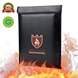 "Fireproof Document Bag,Jiulyning Fireproof Safe Document Bag Fire & Water Resistant Protect Your Documents/Valuables/Envelope/Passport/Jewelry/Money,Zipper Closure |Silicone Fiberglass Cloth|Black(15"" x 11"")"