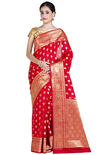Chandrakala Women's Red Kataan Silk Blend Banarasi Saree,Free Size(1250RED)
