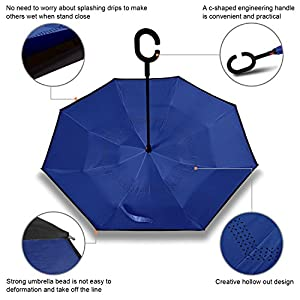 Rainlax Inverted Umbrella Double Layer Windproof UV Protection Sun&Rain Car Reverse folding Umbrellas (Sapphire Blue)