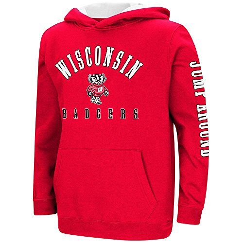 Colosseum Youth Wisconsin Badgers Pull-Over Hoodie - L (Wind Wisconsin Jacket Badgers)