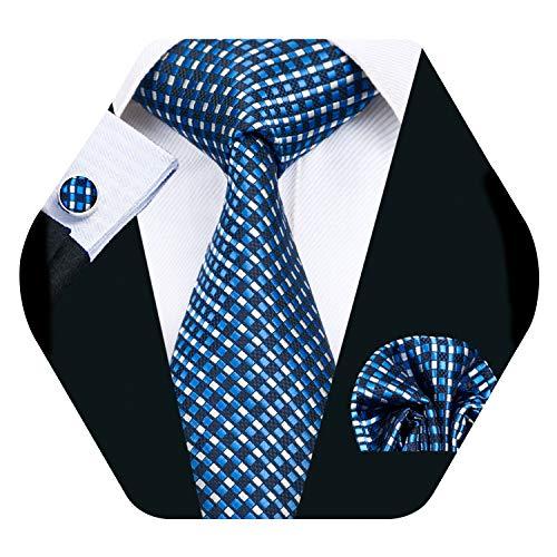 Check Square Cufflinks - Mens Blue Plaid Check Tie Set Formal Silk Necktie with Pocket Square Cufflinks
