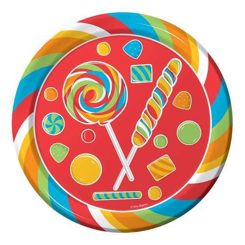 Creative Converting Sugar Buzz Round Dinner Plates, 8 Count (Creative Converting Candy)