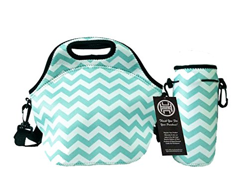 insulated-neoprene-lunch-bag-tote-water-bottle-cooler-set-cross-body-strap-zipper-washable-stretchy-