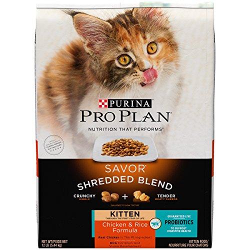 Purina Pro Plan Probiotics Dry Kitten Food; SAVOR Shredded Blend Kitten Chicken & Rice Formula - 12...