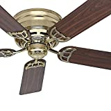 Cheap Hunter Fan 52″ Low Profile Ceiling Fan in Hunter Bright Brass, 5 Blade (Certified Refurbished)