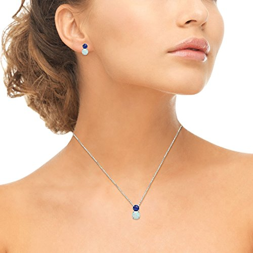 Sterling Silver Created Blue Sapphire & Simulated Opal Double Round Stud Earrings & Necklace Set by GemStar USA (Image #2)
