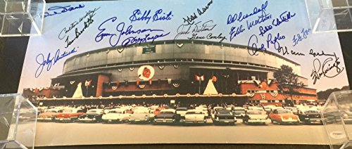 Hank Aaron Braves Greats Signed 12x24 Photo Milwaukee County Stadium PSA DNA - Milwaukee Braves Stadium