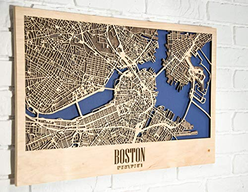 - Fathers Day gift Wooden Framed City Map of New York USA or any other city Decor Picture Laser Cut Wall Poster Art Wood Handmade Light (40x60 cm (15.7x23.6
